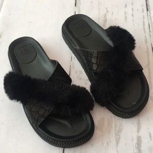 Joes Black Faux Fur Leather Slides
